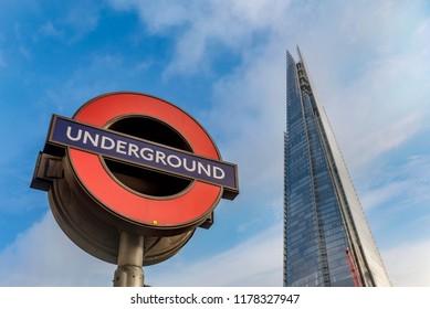 London, United Kingdom- January 10, 2018:Underground Station sign in London, United Kingdom