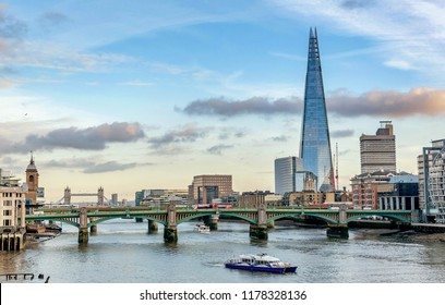 London, United Kingdom- January 10, 2018:A view across the River Thames of financial skyscrapers of London,UK
