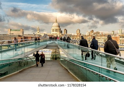London, United Kingdom- January 10, 2018:View of Millenium bridge and London skyscrapers, United Kingdom