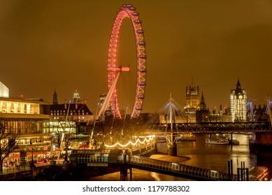 London, United Kingdom- January 12, 2018:London Eye Giant Ferris Wheel illuminated at night in London, UK
