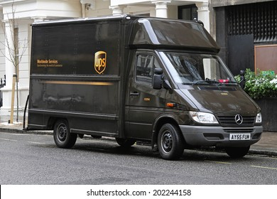 LONDON, UNITED KINGDOM - JANUARY 13: UPS VAN in London on JANUARY 13, 2010. UPS brown van package delivery in London, United Kingdom.