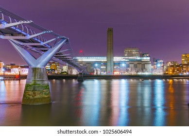 LONDON, UNITED KINGDOM - JANUARY 17: This is a night view of the famous Millenium Bridge and the Tate Modern building on January 17, 2018 in London