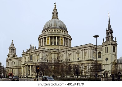LONDON, UNITED KINGDOM - JANUARY 17:  Unidentified people, traffic and St. Paul's cathedral, one of the landmarks of the capital, on January 17, 2016 in London, England