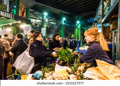 London, United Kingdom - January 19, 2019: Borough Market, one of the oldest, largest, and the most popular food markets in Southwark, London.