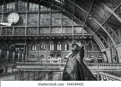 London, United kingdom, January 2017 - Statue of Winston Churchill at St Pancras International Station.