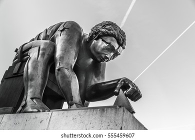 London, United Kingdom, January 2017 - Eduardo Paolozzi's sculpture of Newton outside the British Library