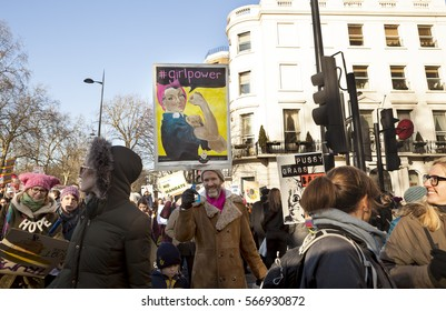 London, United KIngdom - January 21, 2017: London Women's March. A protest march in London in solidarity with the women's march in Washington DC showed the liberal people speaking out.