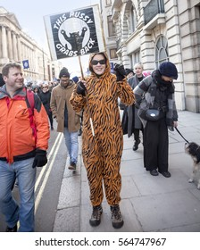 London, United KIngdom - January 21st, 2017: London Women's March. A protest march in London in solidarity with the women's march in Washington DC showed the liberal people speaking out.