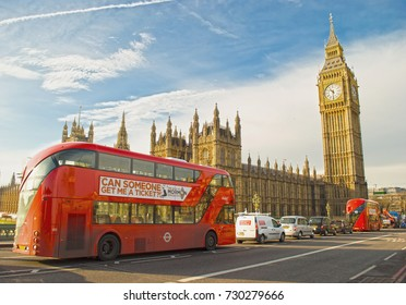 LONDON, UNITED KINGDOM - JANUARY 25, 2016: Big Ben, Westminster Bridge and red double decker bus in London, England, United Kingdom on January 25, 2016