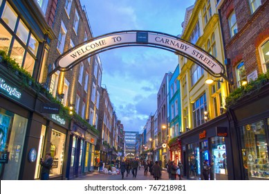 LONDON, UNITED KINGDOM - JANUARY 26, 2016:Carnaby Street is a pedestrianised shopping street in Soho in the City of London, England, United Kingdom on January 26, 2016