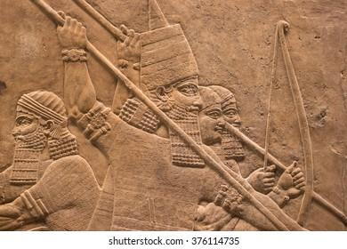LONDON, UNITED KINGDOM - JANUARY 27, 2016: British Museum. Assyrian king ashurbanipal.