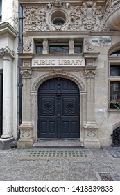 London, United Kingdom - January 28, 2013: Public Library Building Entrance at High Holborn in London, UK.