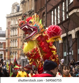 London, United Kingdom - January 29, 2017: Chinese New Year. A parade moved through the China town quarter of London to celebrate the Chinese New Year, the year of the rooster.