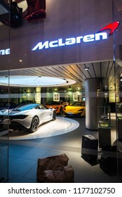 London, United Kingdom - January 3, 2018: McLaren store, specializing in luxurious and fast sports cars, located in a modern building in London, England, United Kingdom