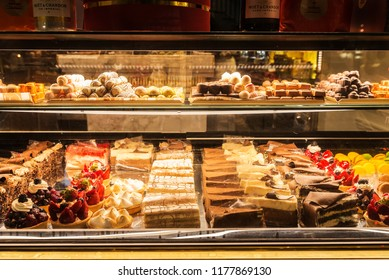 London, United Kingdom - January 3, 2018: Display of a candy store with a great assortment of cakes and chocolates in London, England, United Kingdom
