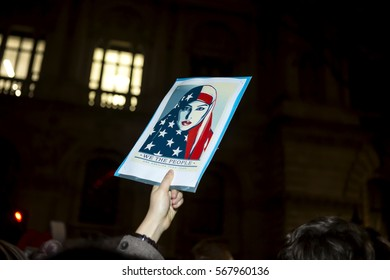 London, United Kingdom - January 30, 2017: Rally against Trump. In London tonight a rally was held for people to register their dismay at the immigration bans of Donald Trump.