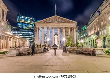 LONDON, UNITED KINGDOM - JANUARY: Night view of the Royal Exchange and bank of England in the Bank financial district area on January 05, 2018 in London