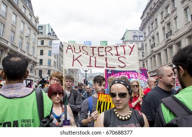 London, United KIngdom - July 1, 2017: Austerity Kills. A march was held in the centre of London to protest the government's continuing austerity measures despite not winning a majority.