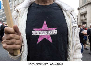 London, United KIngdom - July 1, 2017: Corbynista. A march was held in the centre of London to protest the government's continuing austerity measures despite not winning a majority.