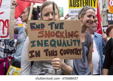 London, United KIngdom - July 1, 2017: Shocking Inequality. A march was held in the centre of London to protest the government's continuing austerity measures despite not winning a majority.