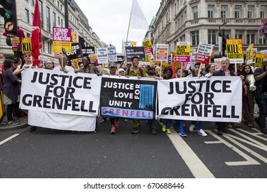 London, United KIngdom - July 1, 2017: Justice for Grenfell. A march was held in the centre of London to protest the government's continuing austerity measures despite not winning a majority.