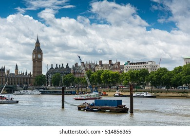 London, United Kingdom - July 11, 2016: Big Ben and the River Thames. Big Ben is the nickname for the Great Bell of the clock at the north end of the Palace of Westminster in London.