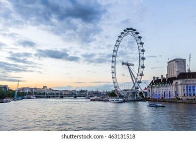 London, the United Kingdom - July 13 2016: London Eye on a sunset