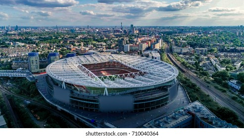 LONDON, UNITED KINGDOM - JULY 14, 2017 - Aerial view of the Arsenal football stadium in North London