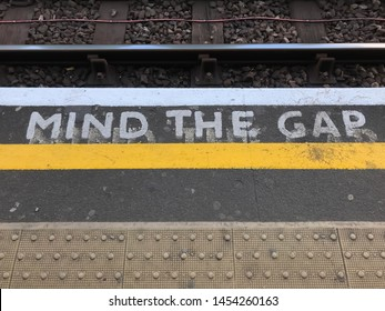 London - United Kingdom July 15 2019 Warren Street - Mind the gap, a popular phrase to alert passengers of the space between the dock and the train doors
