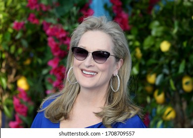"London, United Kingdom- July 16, 2018: Meryl Streep attends the UK Premiere of ""Mamma Mia! Here We Go Again"" at Eventim Apollo in London, UK."