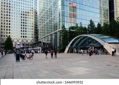 London, United Kingdom: July 1st 2019 - Canary Wharf underground tube station and commuters
