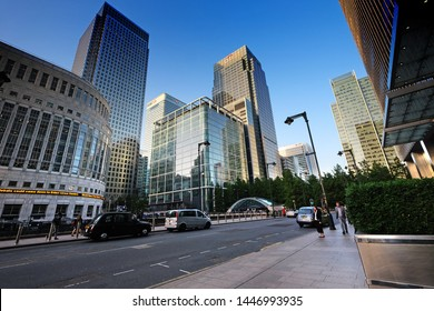 London, United Kingdom: July 1st 2019 - Canary Wharf evening in the financial heartland of London