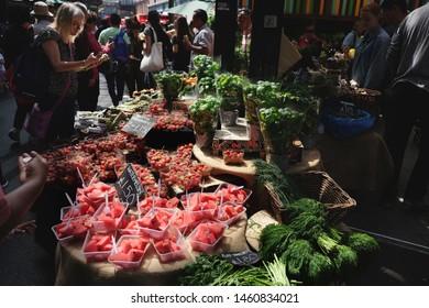 London, United Kingdom: July 1st 2019 - Fresh summer fruit for sale at Borough Market in the London Bridge area