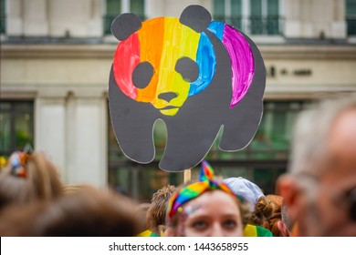 LONDON, UNITED KINGDOM - JULY 2019: WWF logo, panda is coloured in rainbow colours on Pride Parade in London