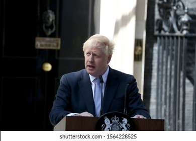 London, United Kingdom - July 24 2019: Boris Johnson delivers his first speech as Prime Minister outside 10 Downing Street in London, UK