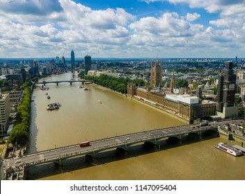 LONDON, UNITED KINGDOM - JULY 31 2018 : Aerial view of River Thames fronting Westminster and Big Ben. London is a top tourist and business destination for local and international visitors