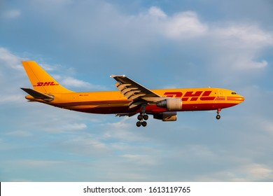 London, United Kingdom - July 31, 2018: DHL Airbus A300 airplane at London Heathrow airport (LHR) in the United Kingdom. Airbus is an aircraft manufacturer from Toulouse, France.