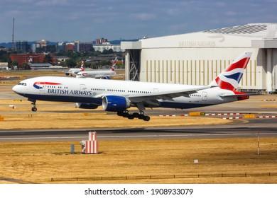 London, United Kingdom - July 31, 2018: British Airways Boeing 777-200ER airplane at London Heathrow Airport (LHR) in the United Kingdom.