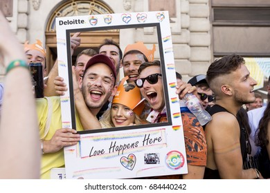 London, United Kingdom - July 8, 2017: London Pride March 2017. People came together in London to celebrate the gay community with joy and colour, happiness and pride.