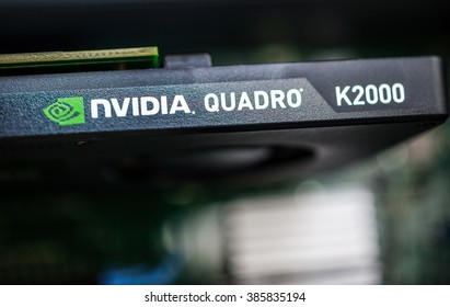 LONDON, UNITED KINGDOM - JUN 30, 2014: Professional video card from NVIDIA -  Nvidia Quadro K2000 seen in a modern powerful workstation