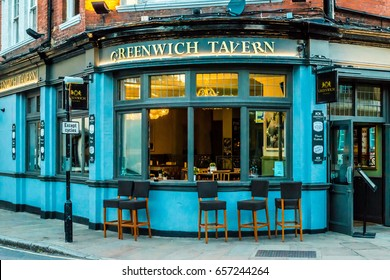 London, United Kingdom - June 01, 2017: Empty chains in front of the Greenwich Tavern public house in Greenwich, London, UK