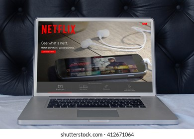 LONDON, UNITED KINGDOM - June 02, 2015: Netflix web page on laptop screen in the house bedroom. Netflix is a global provider of streaming movies and TV series.