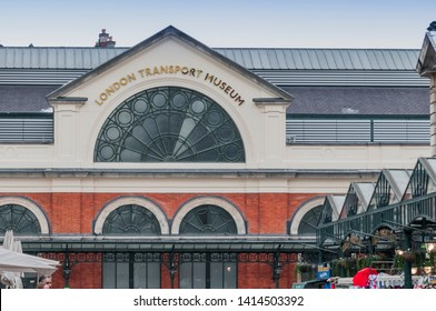 LONDON, UNITED KINGDOM - JUNE 03, 2019 - The main entrance of the London Transpor Museum in Covent Garden