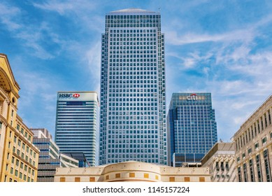 LONDON, UNITED KINGDOM - JUNE 06: View of modern skyscraper buildings in the Canary Wharf financial district from Cabot Square on June 06, 2018 in London