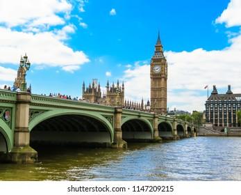 LONDON, UNITED KINGDOM - JUNE 08, 2013: Houses of Parliament, Big Ben clocktower and Westminster Bridge. London, UK