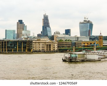 LONDON, UNITED KINGDOM - JUNE 10, 2013: London cityscape with Thames River Embankment and modern buildings. London, United Kingdom