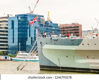 LONDON, UNITED KINGDOM - JUNE 10, 2013: HMS Belfast is Royal Navy ship. It is now permanently moored as a museum ship on the River Thames in London London, United Kingdom