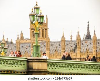 LONDON, UNITED KINGDOM - JUNE 10, 2013: Houses of Parliament, Big Ben clocktower and Westminster Bridge. London, UK
