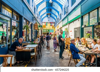 London, United Kingdom - June 10, 2017: Brixton Village and Brixton Station Road Market. Colorful and multicultural community market run by local traders in South London. Cafes and bars