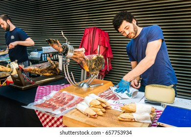 London, United Kingdom - June 10, 2017: Maltby Street Market in Bermondsey. Great artisan street food stalls and bars. Iberico ham sandwiches stall